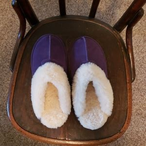 Suede slip on slippers